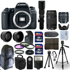 Canon EOS 77D DSLR Camera + 5 Lens Kit: 18-55mm STM + 75-300mm + 500mm and More