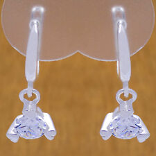 White Cz French Clip Dangle Earrings Solid 925 Sterling Silver Lovely Hearts