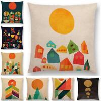 Sun Moon Cotton Linen Pillow Case Sofa Waist Throw Cushion Cover Home Decor