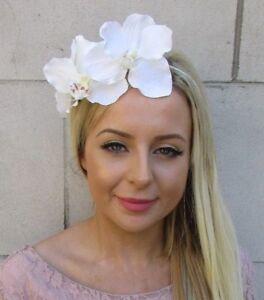 Ivory Cream Orchid Flower Fascinator Headpiece Headband Wedding Races Vtg 5908
