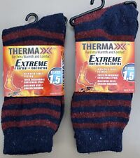 2 Pair Womens THERMAXX Extreme Thermal Winter Crew Socks Navy/Wine Stripes 9-11