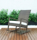 New Rattan Patio Rocking Deck Chair Seat Wicker Outdoor Garden With Cushion
