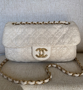 CHANEL IVORY GOLD VINYL CC CHAIN MEDIUM FLAP BAG PURSE HANDBAG