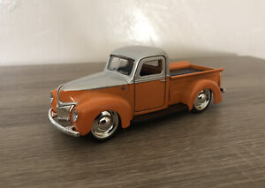 1941 FORD PICKUP TRUCK 1:32 SCALE RARE SILVER/ORANGE NEW METAL MODEL BY JADA