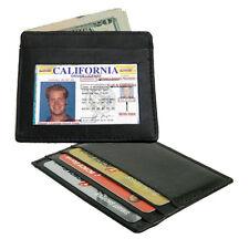 Black Cowhide Leather Men's Wallet Front Pocket Super Slim Credit Card ID Holder