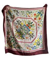 "RARE GUCCI V. Accornero SCARF Silk Vintage 34"" Floral 100% Silk"