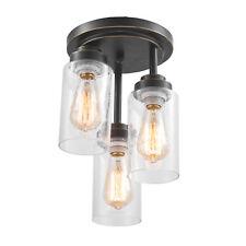 3 Light Semi Flush Ceiling Light Seeded Glass Cylinder Foyer Kitchen Lighting