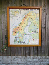 VINTAGE DOUBLE SIDED MAP OF SCANDINAVIA & THE BALKAN PENINSULAR  - PAPER 1960's