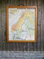 VINTAGE BIADESIVO mappa della Scandinavia e la penisola balcanica-Carta 1960's