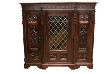 Marvelous Antique French Gothic Bookcase, Great Carvings, 19th Century, Walnut