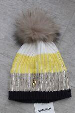 Sportalm Kitzbühel Mujer Cap Gorro Bingo Azul Amarillo Blanca con Piel auténtica