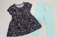 NWT Baby Gap Girls Size 3t 4t or 5t Black Flower Top & Blue Capris Leggings