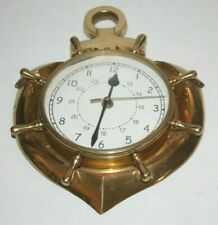 "Vintage Quartz Ships Port Brass Clock 12"" Wall Hang Heavy"