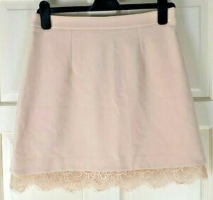 River Island Women's Pink Mini Flared Stretch Crochet Bottom Skirt Size 12