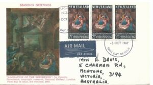NEW ZEALAND - 1967 FDI Pictorial Cover Christmas Addressed with Air Mail Sticker