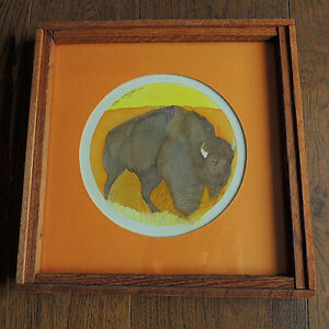 a signed original water color painting by sari staggs portraying a buffalo