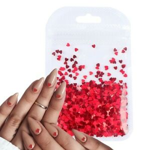 New Nail Art Glitter Sweet Love Heart Flakes  Sequins 3D Nail Decorations