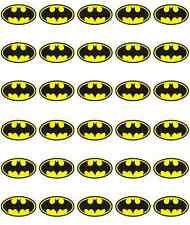 30 x Batman Logo Edible Cupcake Toppers Birthdays Wafer Paper Fairy Cake Topper