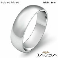 Mens Wedding Band Dome High Polished Solid Classic Ring 6mm 14k Gold White 6.2gm