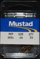 25 Pack Mustad 3551-014 Size 14 Bronze Small Treble Hooks Powerbait Trout