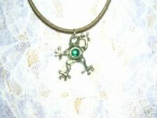 "COOL TREE FROG w GREEN GEM PEWTER PENDANT 16"" NECKLACE"