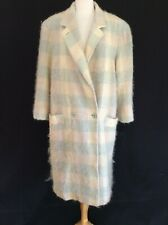 New listing 1980's Vintage Fuzzy Mohair Check Wool Boxy Mannish Style Coat Double Breast L