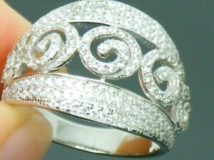 Solid Silver 925 Fancy Round Cut Cluster Band ring size R