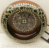 Rare Indo Trading Co. Hand Crafted Carved Painted & Mother of Pearl Peanut Bowl