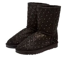 New Ugg Size 7 Or 38 Australian Quilted Black Leather Sheepskin Boots