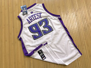 VINTAGE ADIDAS SACRAMENTO KINGS RON ARTEST JERSEY LARGE L YOUTH WHITE PURPLE #93