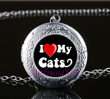 I love my cat Photo Glass Tibet Silver Chain Locket Pendant Necklace#S26