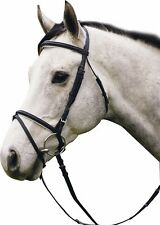 HDR Dressage Bridle with Flash and reins Black with Black Padding Cob