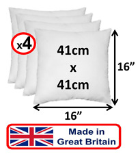 """4 PACK 16"""" Inch White Comfy Cushion Pad Inner Inserts Filler Sofa Bed Chair - UK"""