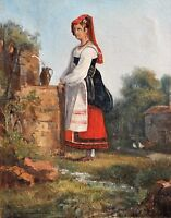 School French, Woman, Italy, Costume, Painting, Painting, Landscape, Italian