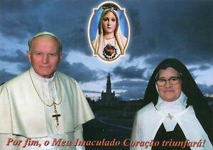 Pope Saint John Paul II + Sister Lucia Fatima Mother Mary Apparition Print 21x14