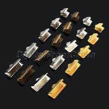About 100Pcs 6/8/10/13/16/20mm Ribbon Crimp End Clip Clamps Tips Beads Cap DIY
