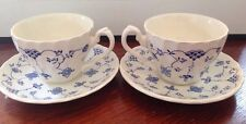 2 Myott Finlandia Blue White Cup and Saucer Sets England
