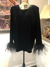 Ladies Velvet Msk Women Open Cardigan Set With Ostrich Feather Sleeves Vintage