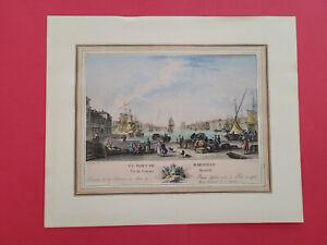Ancienne gravure « Le port de Marseille, vu de l'ancien Arsenal », Ozanne.1776