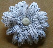 Flower Hair Clip, White/Black Lettering Daisy Flower (Never Used)