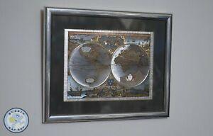 "FRAMED FOIL NOVA TOTIVS TERRARVM ORBIS GEOGRAPHICA WORLD MAPS 11"" X 8½ """