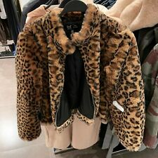 ZARA LEOPARD FAUX FUR SHORT JACKET REF. 4341/219 SIZE S 8 UK 36 EU 4 US