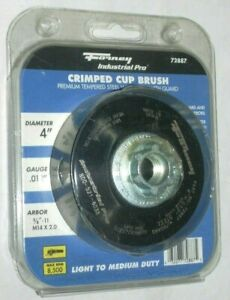 Forney 72887 Crimped Wire Cup Brush 4 x 5/8-11 w Guard .012 Wire 8500 RPM