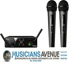 AKG Wms40 Dual Wireless System Vocal Handheld Microphone Instrument Beltpack