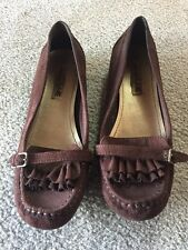 9 womens American Eagle Brown Ruffle Loafers Moccasins Slip On Suede Look shoes