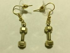 CROSSFIT FITNESS BARBELL HAND WEIGHTS Dangle Drop GOLD TONE HOOK EARRINGS