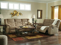 Modern Living Family Room Couch Set - Brown Fabric Recliner Sofa Loveseat IF1G