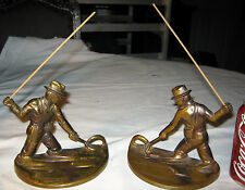 ANTIQUE BRONZE USA COUNTRY FLY FISHING POLE ART STATUE SCULPTURE SPORT BOOKENDS