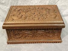 Edwardian Victorian Ornate floral flowered Wood carved jewelry trinket box