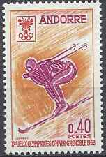 ANDORRE FRANÇAIS N°187 JEUX OLYMPIQUES D'HIVER GRENOBLE 1968 NEUF ** LUXE MNH